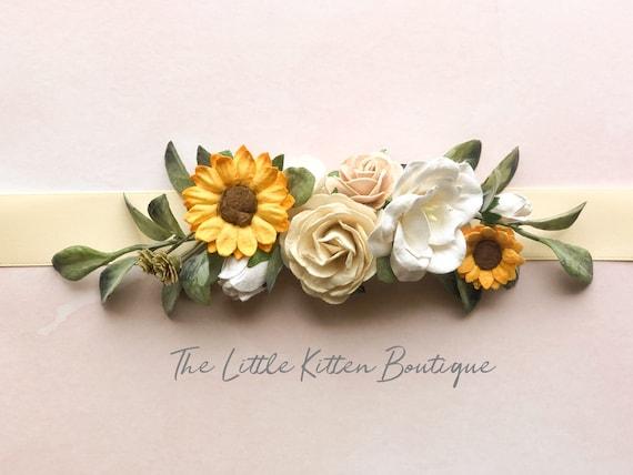 Sunflower Flower Sash, wedding sash, sash's, sashes for dresses, wedding belt, Sash, Sunflower, floral Sash, Wedding, Flower girl dress