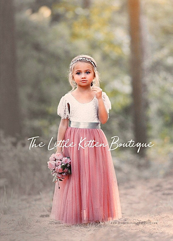 tulle flower girl dress, rustic lace flower girl dresses, flower girl dress, boho flower girl dress, ivory flower girl dress, Dusty Rose