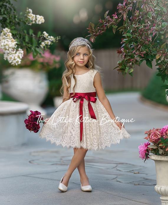 Flower girl dress, White lace flower girl dress, rustic flower girl dress, boho dress, girl dress, bohemian girls Dress, Beach Wedding Dress
