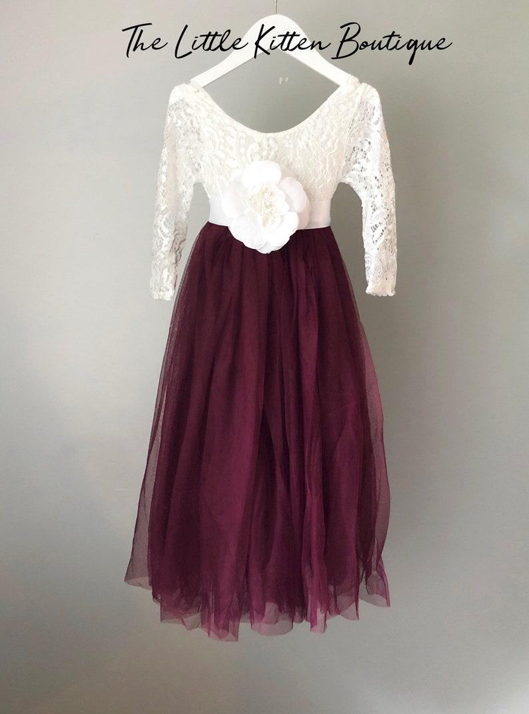 c053f48916d Flower girl dress Burgundy tulle long sleeve wedding dress
