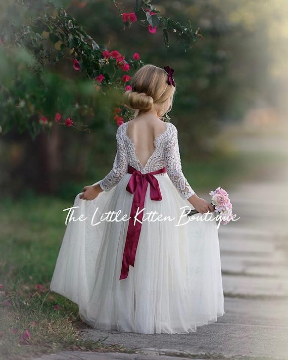 Tulle flower girl dress, lace flower girl dress, Rustic flower girl dresses, Ivory flower girl dress, boho wedding dress, junior bridesmaid