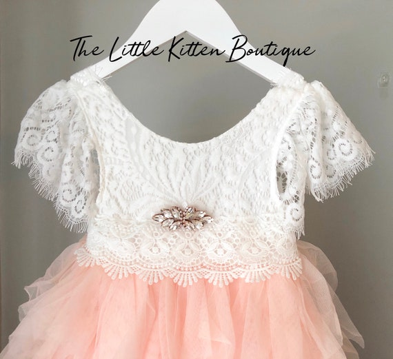 Ivory flower girl dress, Lace flower girl dress, Tulle flower girl dress, Toddler flower girl dress, Ivory tutu dress, First Birthday dress