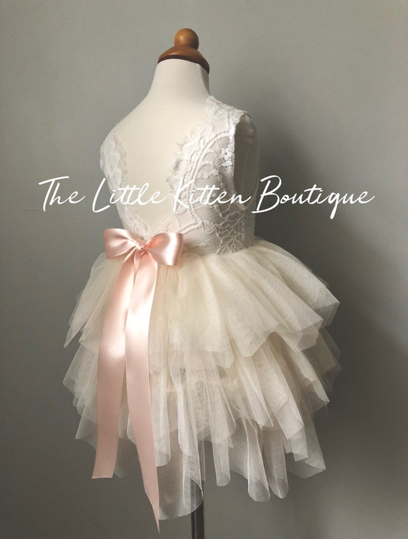 bfe23eaf4a8 Tulle Flower Girl Dress Ivory Flower Girl Dress White Lace