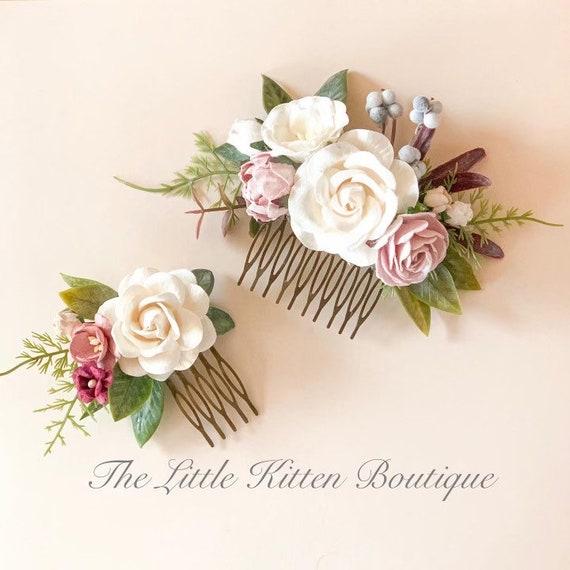 Flower hair combs, flower wedding hair comb, rose wedding hair accessories, rose flower crown, wedding hair accessories, bridal hair piece