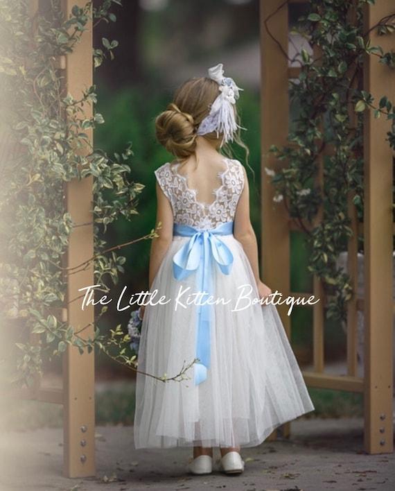 Ivory flower girl dress, tulle Flower Girl dress, rustic white lace flower girl dress, Rustic flower girl dress, Navy blue flower girl dress