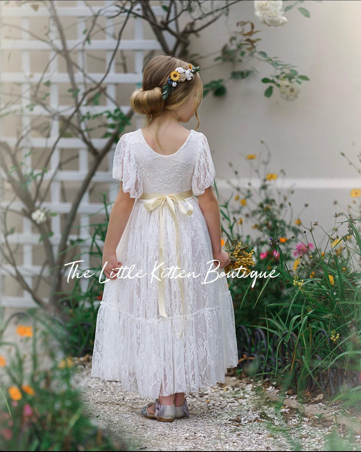 lace flower girl dress, flower girl dress, bohemian flower girl ...