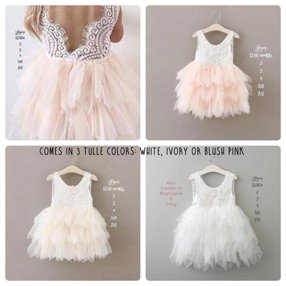 217795c3ac78 Pink Flower Girl Dress, Blush Flower Girl Dress, White Lace Flower Girl  Dress,