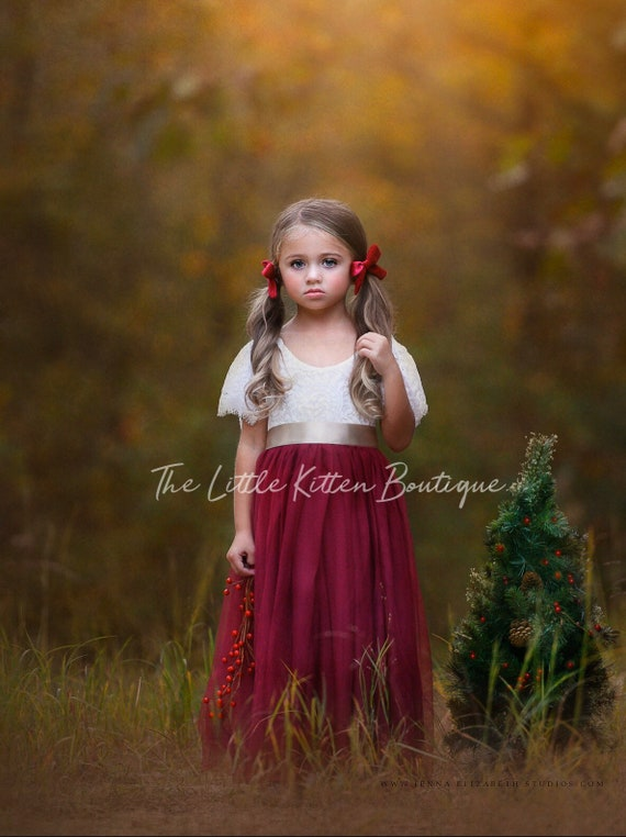 Flower girl dress, rustic flower girl dress, lace flower girl dress, tulle flower girl dress, ivory flower girl dress, first communion dress