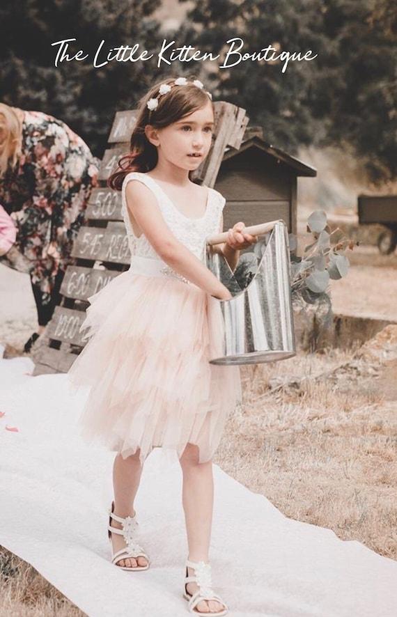 Tulle Flower Girl Dress,  Ivory Flower Girl Dress,  Blush Pink Flower Girl Dress,  White Lace Flower Girl Dress, Rustic flower girl dress