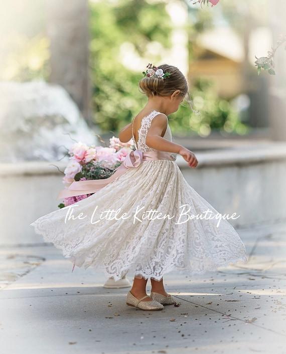 Bohemian flower girl dress, White lace flower girl dress, rustic flower girl dress, boho flower girl dress, Ivory Lace flower girl dresses