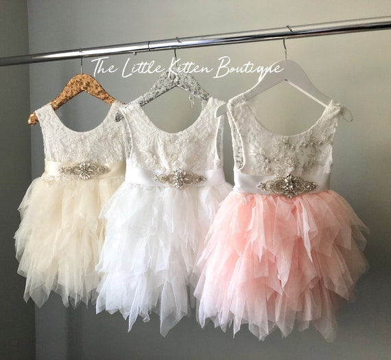 Flower Girl Dress, Tulle Flower Girl Dress, Ivory Flower Girl,  Lace wedding dress, Blush Flower girl dress, Princess Dress, Rustic Wedding
