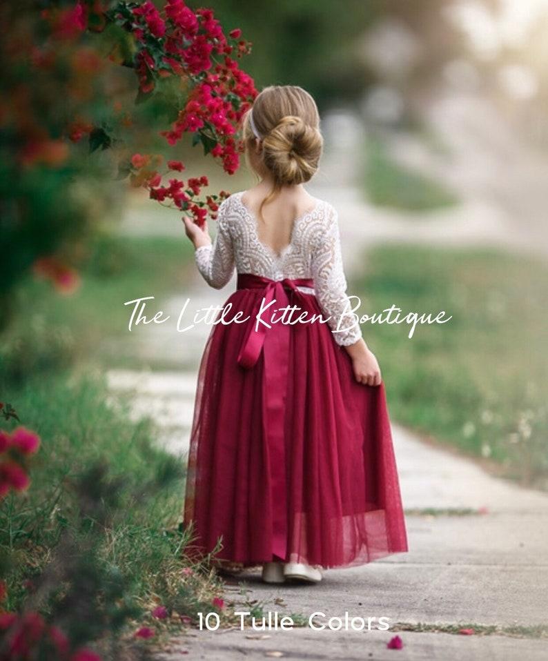 boho flower girl dress long sleeve flower girl dresses tulle flower girl dress ivory flower girl dress rustic lace flower girl dresses