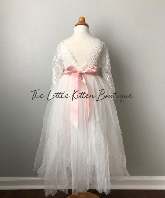tulle flower girl dress, rustic lace flower girl dresses, long sleeve flower girl dresses, winter flower girl dress, ivory flower girl dress