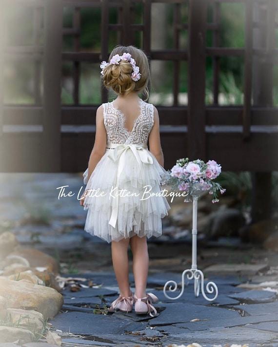 Tulle Flower Girl Dress, Ivory Flower Girl Dress, White Lace Flower Girl Dresses, blush flower girl Dress, boho flower girl dress, Birthday