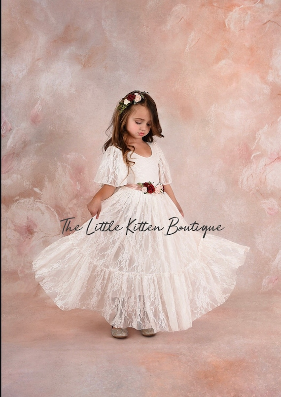 White lace flower girl dress, ivory lace flower girl dress, boho flower girl dress, bohemian flower girl dress, beach flower girl dress