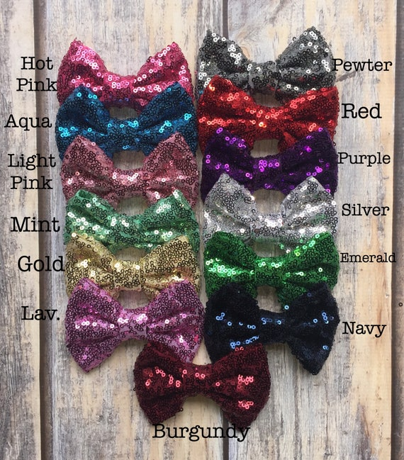 Sequin Hair Bow, Glitter Hair Bow, Bow Barrettes, Sequin Headband, Hair Accessories, Wedding Attire, Kids Clip on Bow, Glitter Shirt,