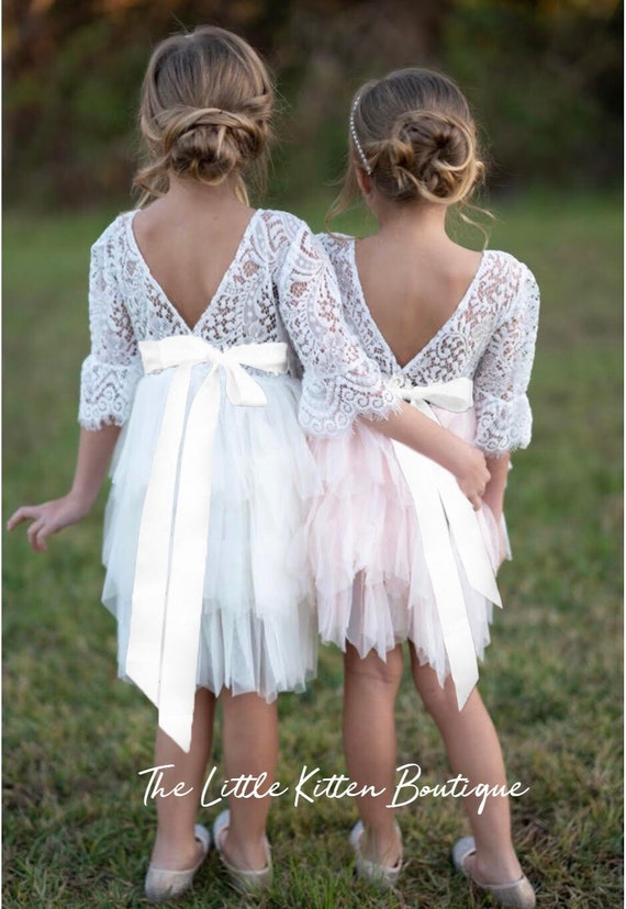 Tulle Flower Girl Dress, Ivory Flower Girl Dress, White Lace Flower Girl Dresses, pink blush flower girl Dress, girls boho Birthday dress