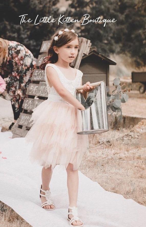 Flower Girl Dress Blush Flower Girl Dress Pink Flower Girl Dresses Lace Flower Girl Boho White Flower Girl Dress Ivory Tutu Tulle Vintage