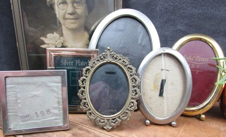 Brass and Silver Frames 6 Mixed Collection Oval and Square Picture Menu Or Table Number Frames Wedding