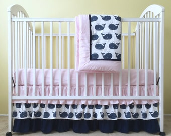 Navy & Pink Whale Tales BABY CRIB SKIRT - Whale Tales Crib Dust Ruffle - Whales Nautical Crib Skirt - Baby Girl Crib Bedding - Made To Order