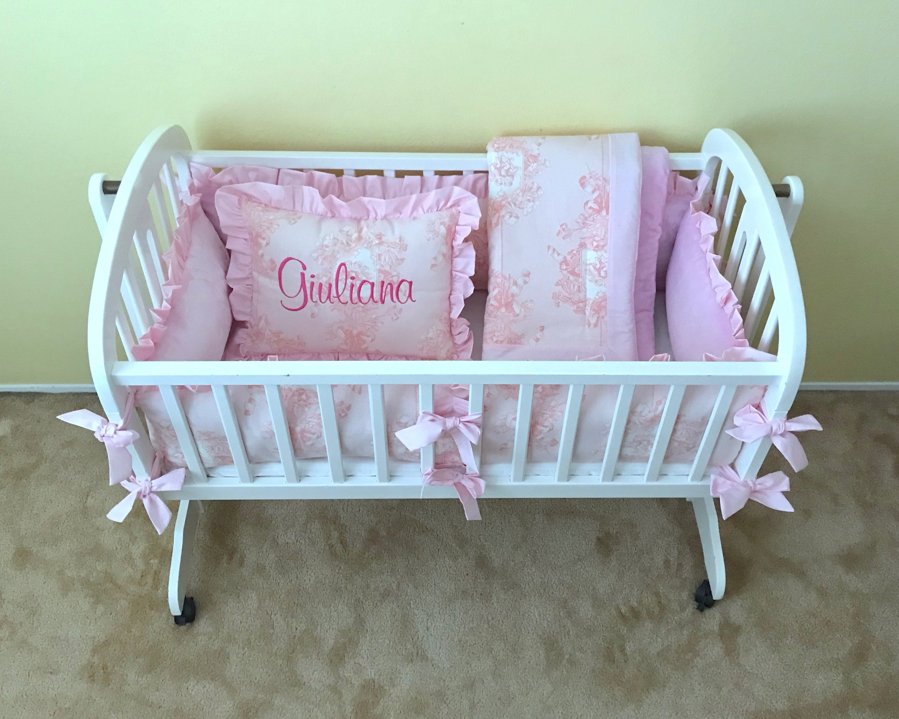 Candy Pink Cherub Angel Toile Cradle Bedding Set Includes Etsy