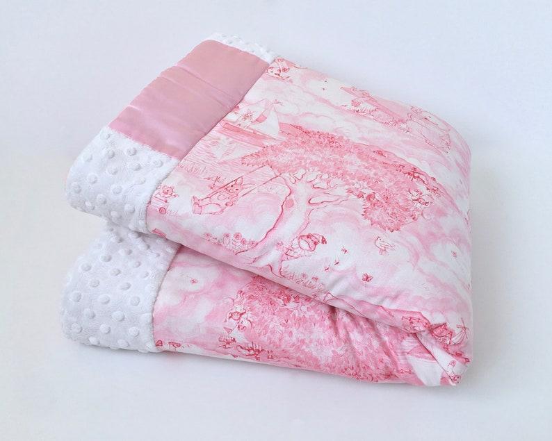 Made To Order Pink Animal Toile BABY  TODDLER BANKET Toile Toddler Blanket Toile Baby Quilt Toddler Quilt Pink Toile Baby Blanket