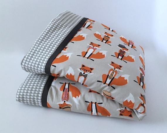 Red Blanket Gray PERSONALIZED Baby Blanket Custom Blanket FOXES Baby Blanket Orange Double Minky Baby Boy Blanket -Choose Your Colors
