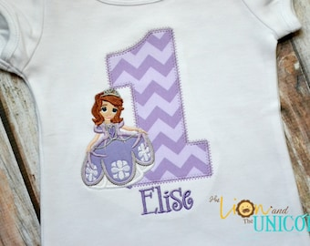 Princess Sofia The First Birthday Applique Shirt (layout 1) - Number can be changed - Add a name for FREE