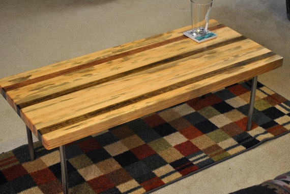 "39"" Metal leg coffee table, pine"