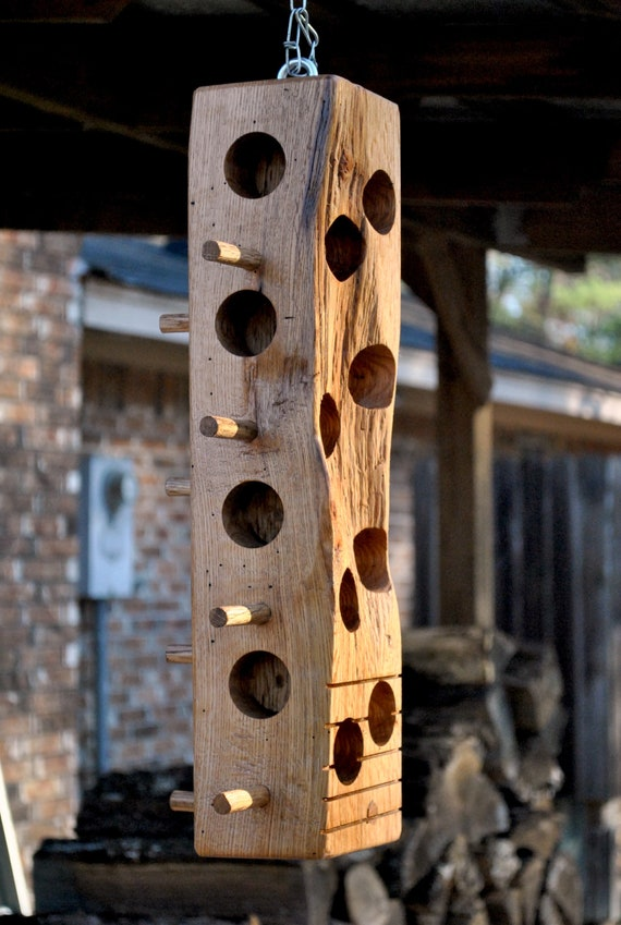 Suet bird feeder, red oak
