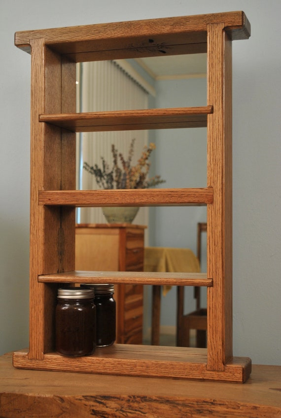 nick nack shelf, Red Oak and mirror