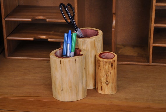 Cedar pen holder desk organizer
