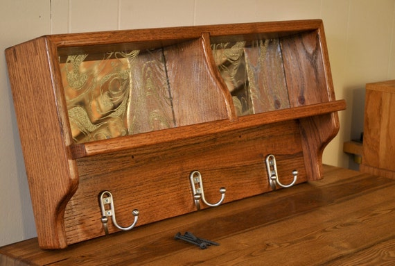 Red Oak wall coat rack with shelf