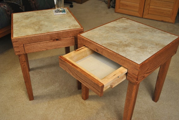 Pair of red oak side tables