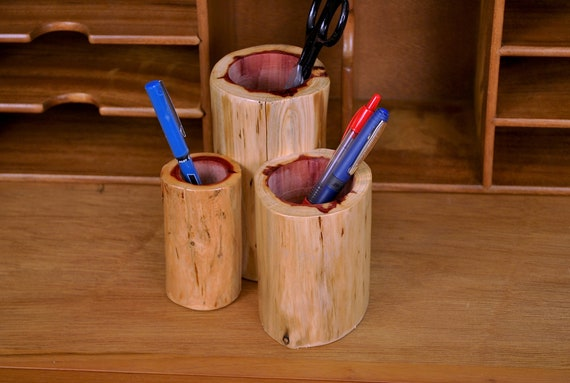Pen holder made of cedar (desk organizer)