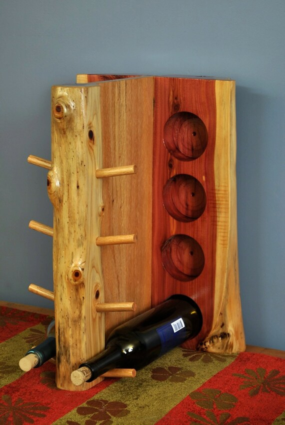 Oak and Cedar 8 bottle wine rack.