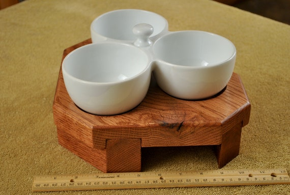 Cat feeder, red oak and porcelain