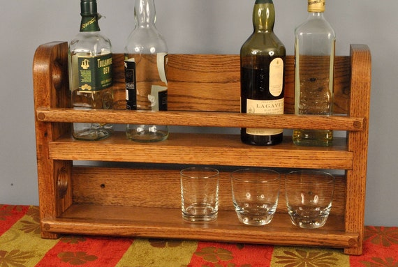 Red Oak Whiskey shelf, wall mounted