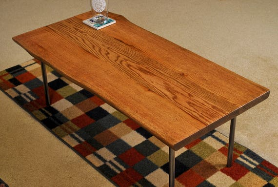 Red Oak coffee table with metal legs,