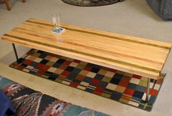 "Metal leg coffee table, 59"" long pine"