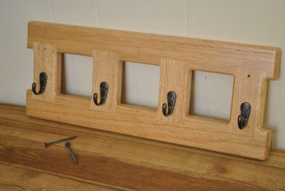 Red Oak wall-mount coat rack, with Golden Pecan stain