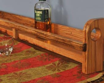 """Red Oak wall-mount Whiskey Shelf. 49.5"""" long"""