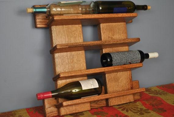8 bottle red oak wine rack, Wall-mount