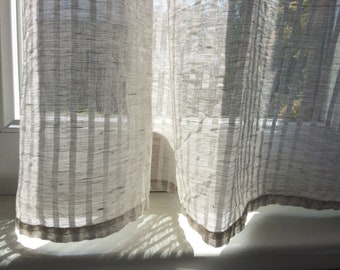 Semi sheer curtain panel, natural white striped natural linen kitchen window curtains, light pure linen cafe curtains