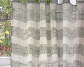 Tab top kitchen curtain, striped ivory khaki rustic linen curtain, cafe curtain panel