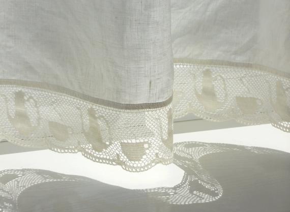 tee tasse spitze caf vorhang panel reines leinen etsy. Black Bedroom Furniture Sets. Home Design Ideas
