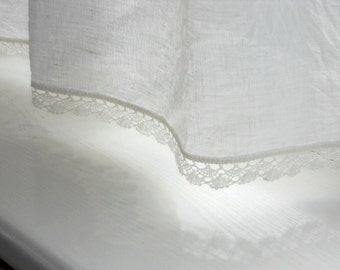 Linen kitchen curtain panel with lace natural white cafe curtains in shabby chic french cottage style