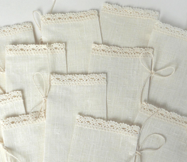 Ivory favor sachets linen burlap with lace wedding favor bags