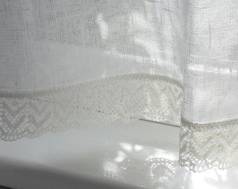 Linen cafe curtain, white rustic gauzy kitchen curtain panel with lace edge trim, valence in shabby chic french style