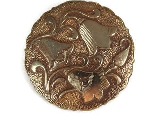 Vintage Coppery Gold Tone Flower Brooch West Germany